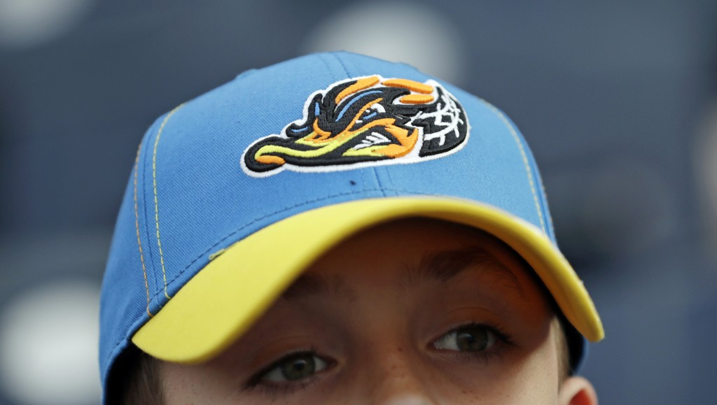 Jake Sheehan, 9, wears an Akron RubberDucks cap as he watches a minor league baseball game between Akron and the Bowie Baysox, Thursday, April 18, 201...
