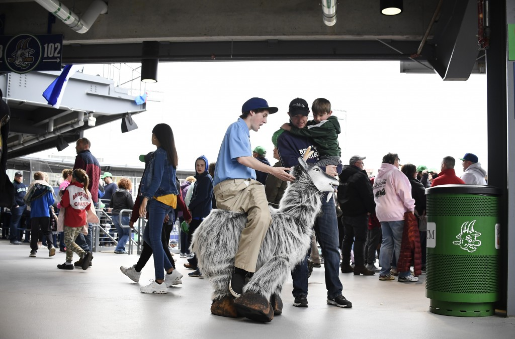 Hartford Yard Goats employee Ned Coursey stands inside a puppet goat, playing the role of the mascot Goofy Goat Herder, before a game between the Yard...