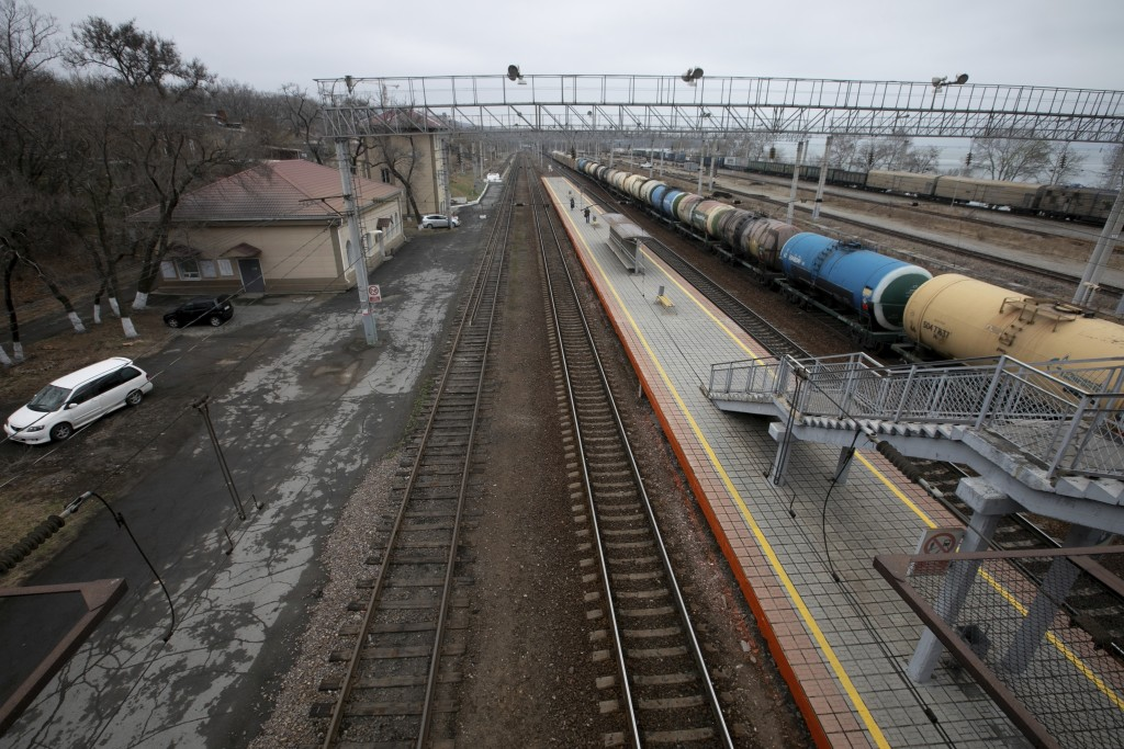 Oil tankers are parked at the Okeanskaya railway station where North Korean leader Kim Jong Un is expected to make his first stop before his summit wi