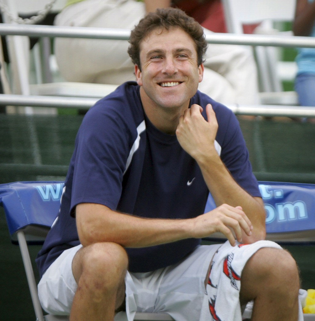 FILE - In this July 23, 2008, file photo, Justin Gimelstob, then a member of Kastles' World Team Tennis, smiles during a match in Washington. Now a te...
