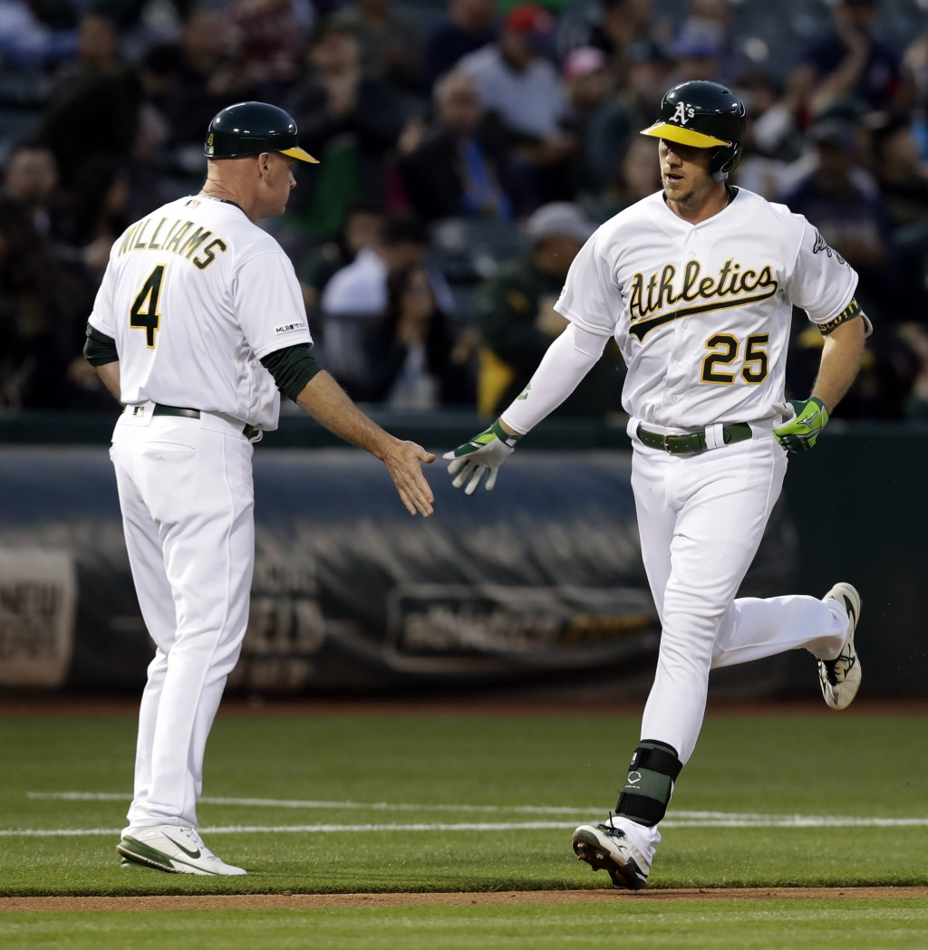 Oakland Athletics' Stephen Piscotty, right, is congratulated by third base coach Matt Williams (4) after hitting a home run off Texas Rangers' Mike Mi
