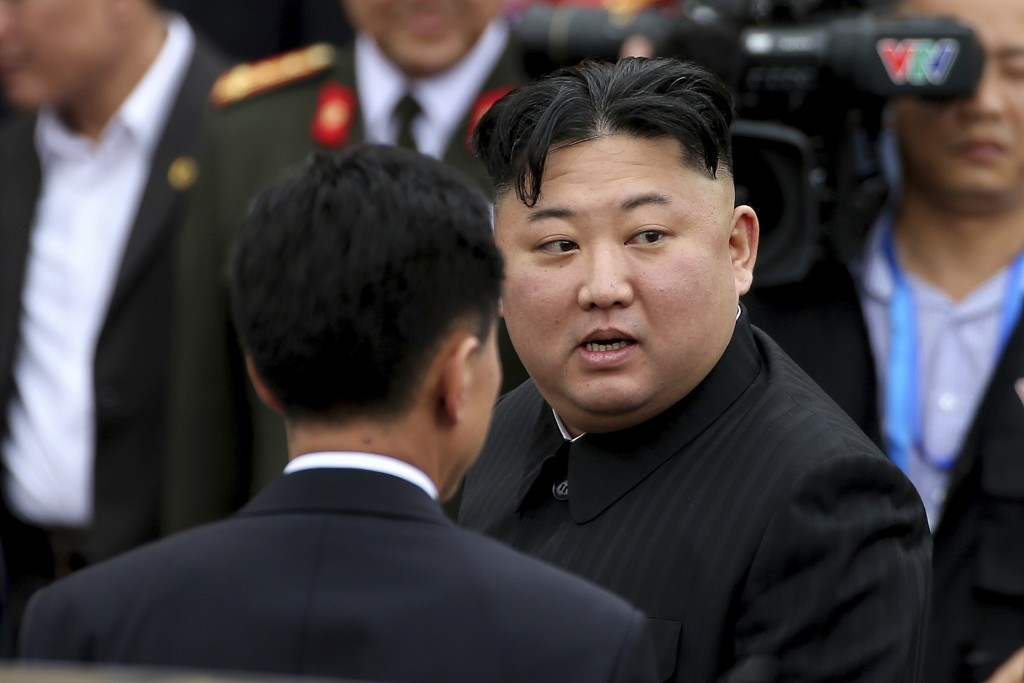 In this March 2, 2019, photo, North Korean leader Kim Jong Un prepares to depart Dong Dang railway station in Dong Dang, Vietnamese border town. North...