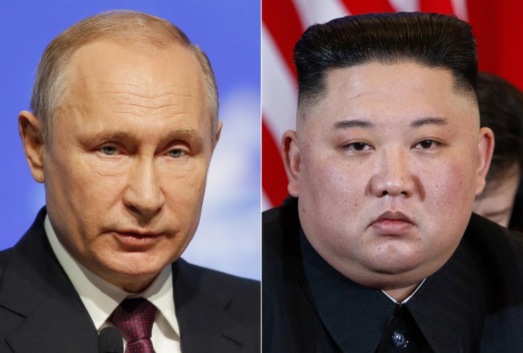 FILE - This combination file photo, shows Russian President Vladimir Putin, left, in St. Petersburg, Russia, April 9, 2019, and North Korean leader Ki...