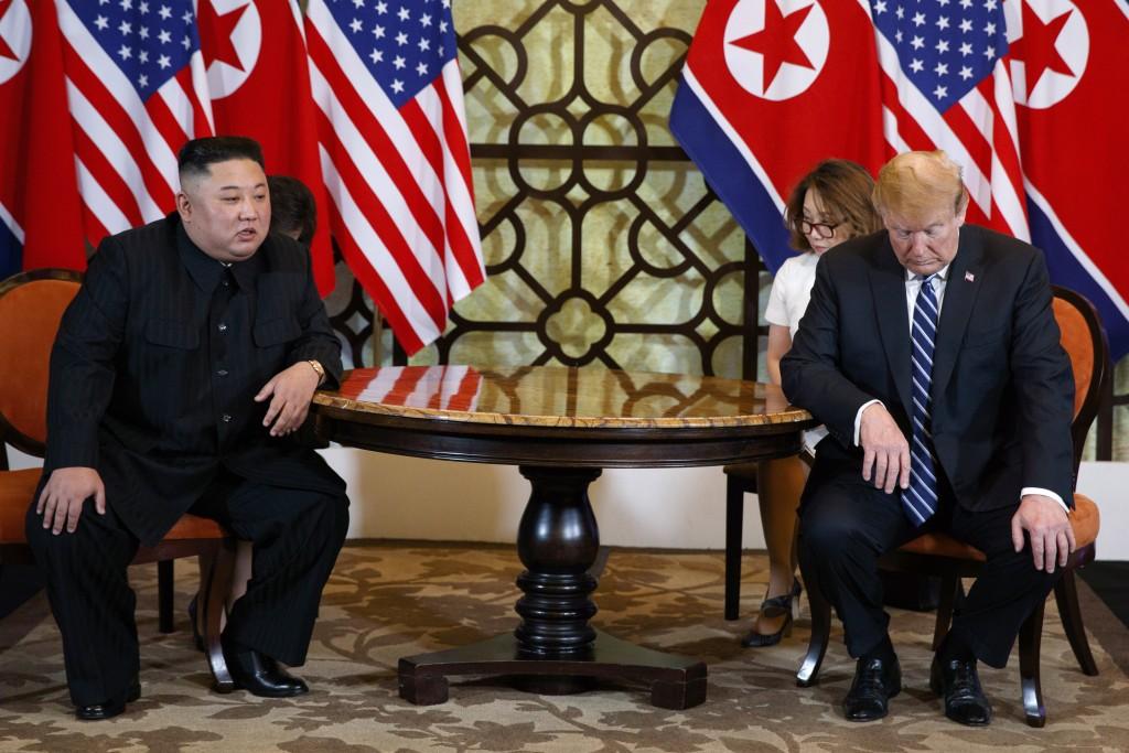 FILE - In this Feb. 28, 2019, file photo, North Korean leader Kim Jong Un, left, meets U.S. President Donald Trump in Hanoi, Vietnam. When Kim meets w...
