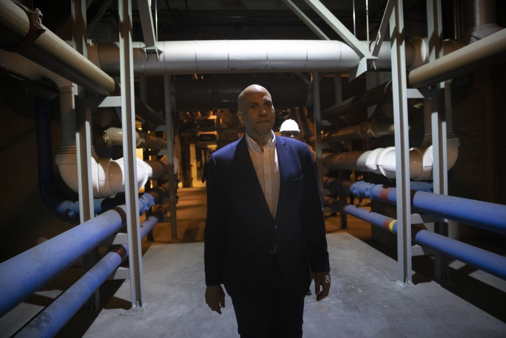 Democratic presidential candidate Sen. Cory Booker tours the Hyperion Water Reclamation Plant Monday, April 22, 2019, in the Playa del Rey section of