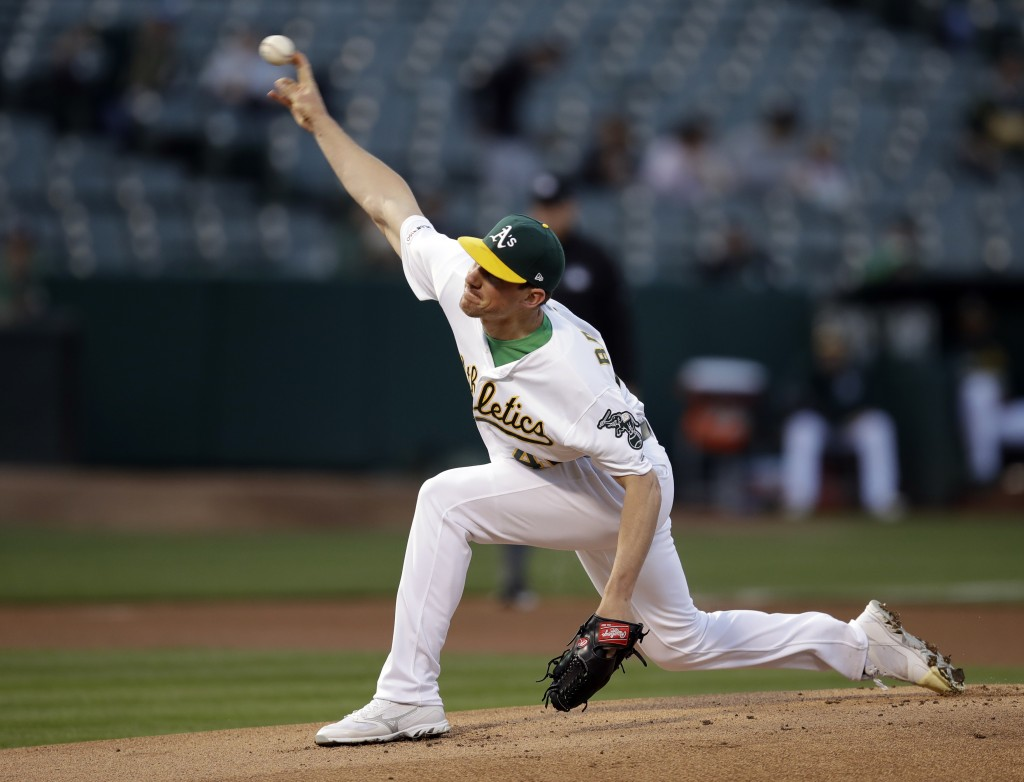 Oakland Athletics pitcher Chris Bassitt works against the Texas Rangers in the first inning of a baseball game Monday, April 22, 2019, in Oakland, Cal