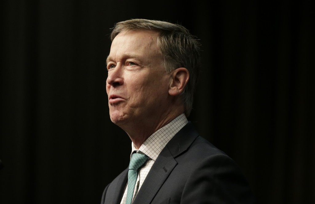 FILE - In this April 5, 2019, file photo, Democratic president candidate, former Colorado Gov. John Hickenlooper, speaks during the National Action Ne...