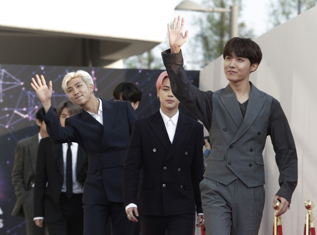 Members of South Korean K-Pop group BTS arrive to attend The Fact Music Awards in Incheon, South Korea, Wednesday, April 24, 2019. (AP Photo/Ahn Young...