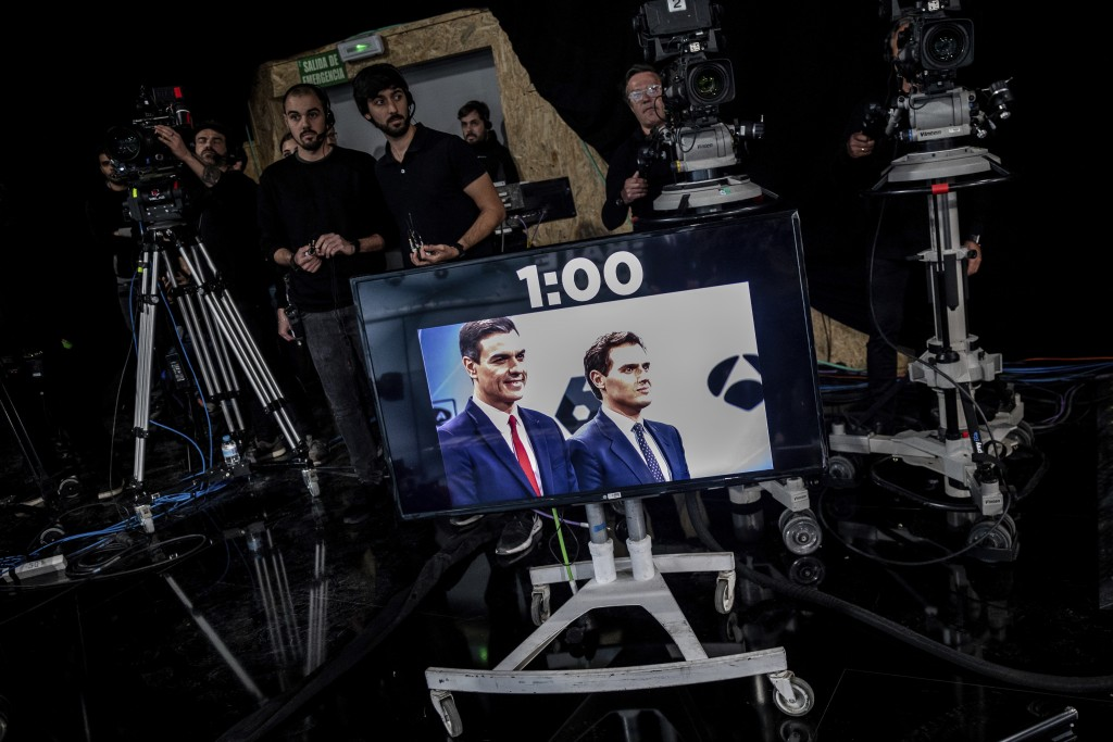 In this Tuesday, April 23, 2019 photo, Spanish election runner Citizens party's Albert Rivera, right, and Prime Minister and Socialist Party candidate...