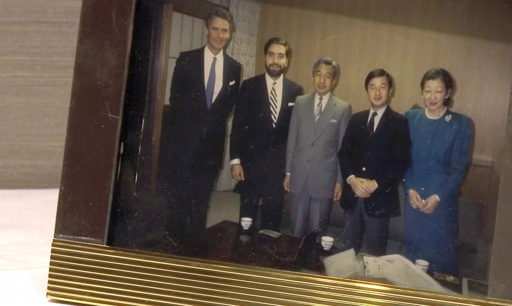 In this image, a photo captured in the April 5, 2019, video, Japan's Crown Prince Naruhito, second from right, Emperor Akihito, center, and Empress Mi...
