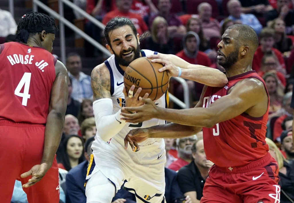 e733ecf5261 ... during the first half in Game 5 of an NBA b. Utah Jazz guard Ricky  Rubio