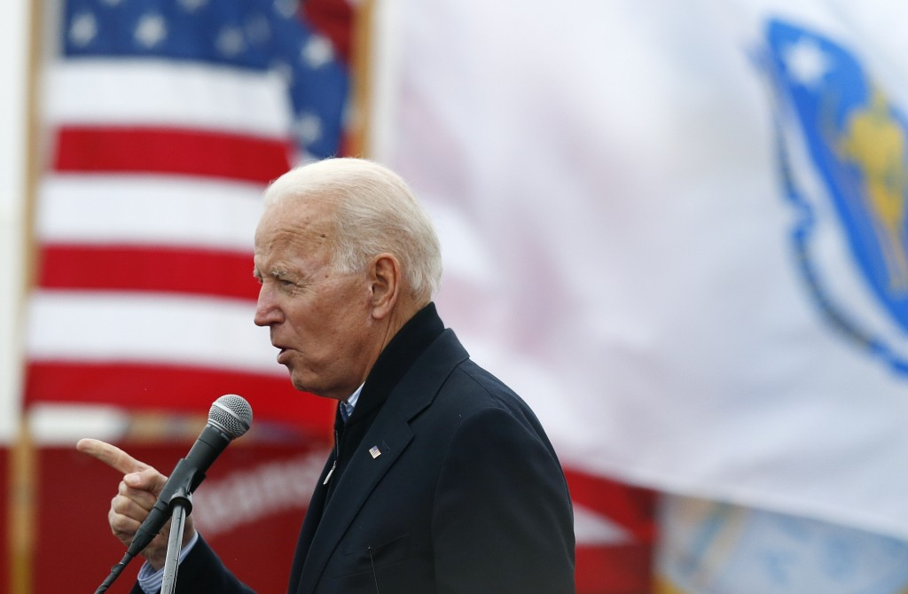 FILE - In this April 18, 2019, file photo, former vice president Joe Biden speaks at a rally in support of striking Stop & Shop workers in Boston. (AP...