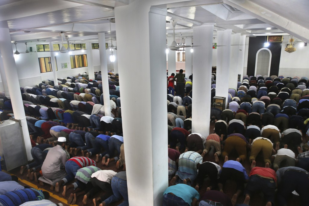 Sri Lankan Muslims offer Friday prayers inside a mosque, in Colombo, Sri Lanka, Friday, April 26, 2019. Across Colombo, there was a visible increase o