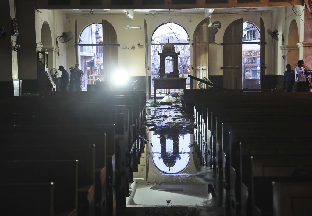 The interiors of St. Anthony's Church stand damaged after Sunday's bombing, in Colombo, Sri Lanka, Friday, April 26, 2019. Priests have allowed journa...