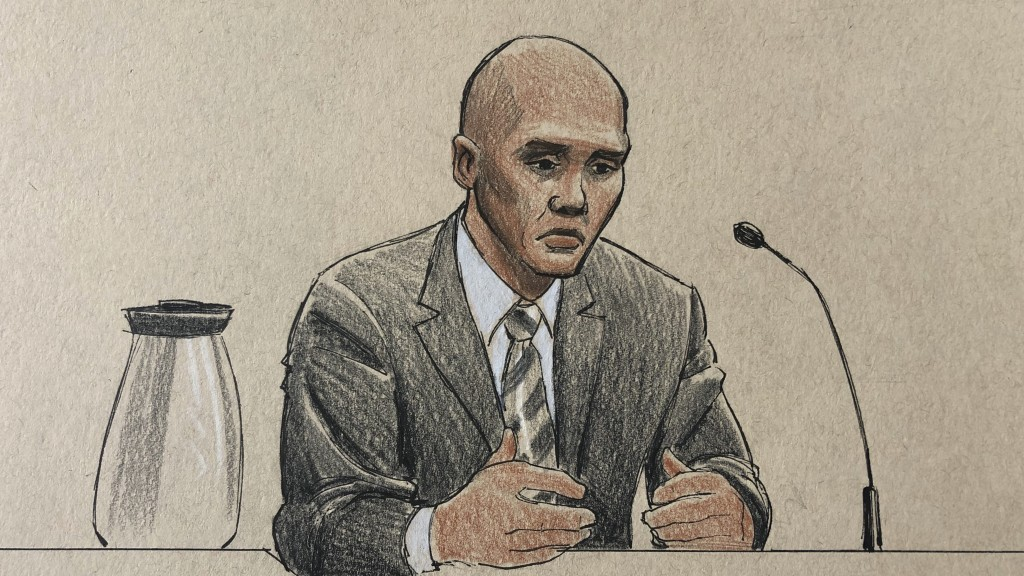 This courtroom sketch depicts former Minneapolis police officer Mohamed Noor on the witness stand Thursday, April 25, 2019, in Minneapolis during his ...