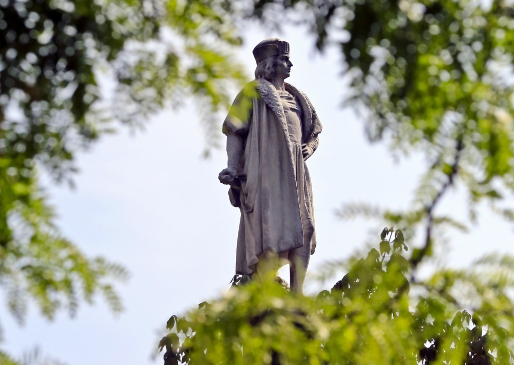FILE - This Aug. 27, 2017 file photo shows the Christopher Columbus statue at Manhattan's Columbus Circle in New York. Maine Gov. Janet Mills signed a...