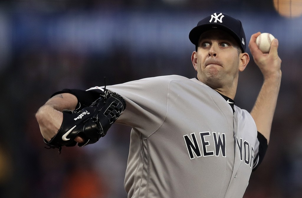 New York Yankees pitcher James Paxton works against the San Francisco Giants in the first inning of a baseball game Friday, April 26, 2019, in San Fra