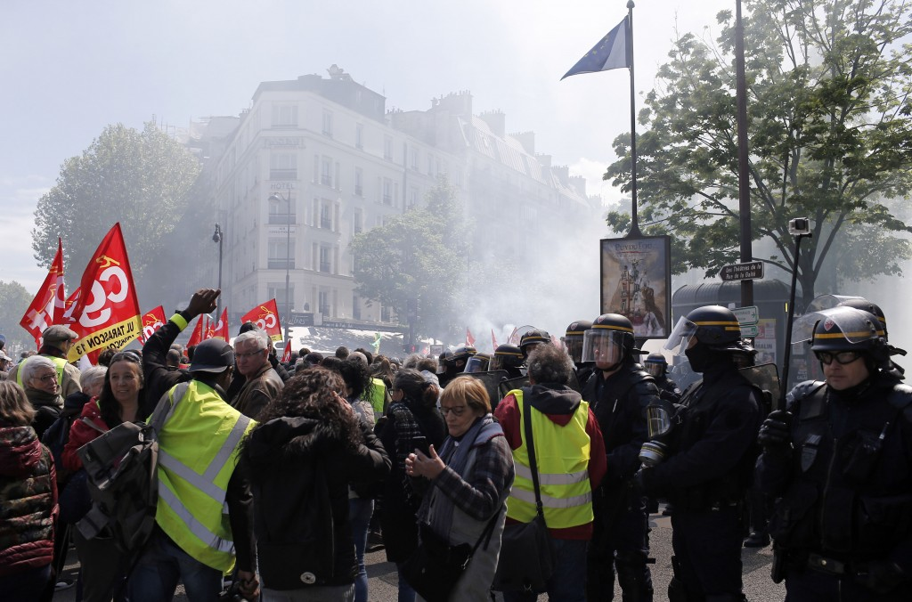 Yellow Vest demonstrators gather in Paris, during another protest Saturday April 27, 2019. Yellow vest protesters remain a force in French politics de...