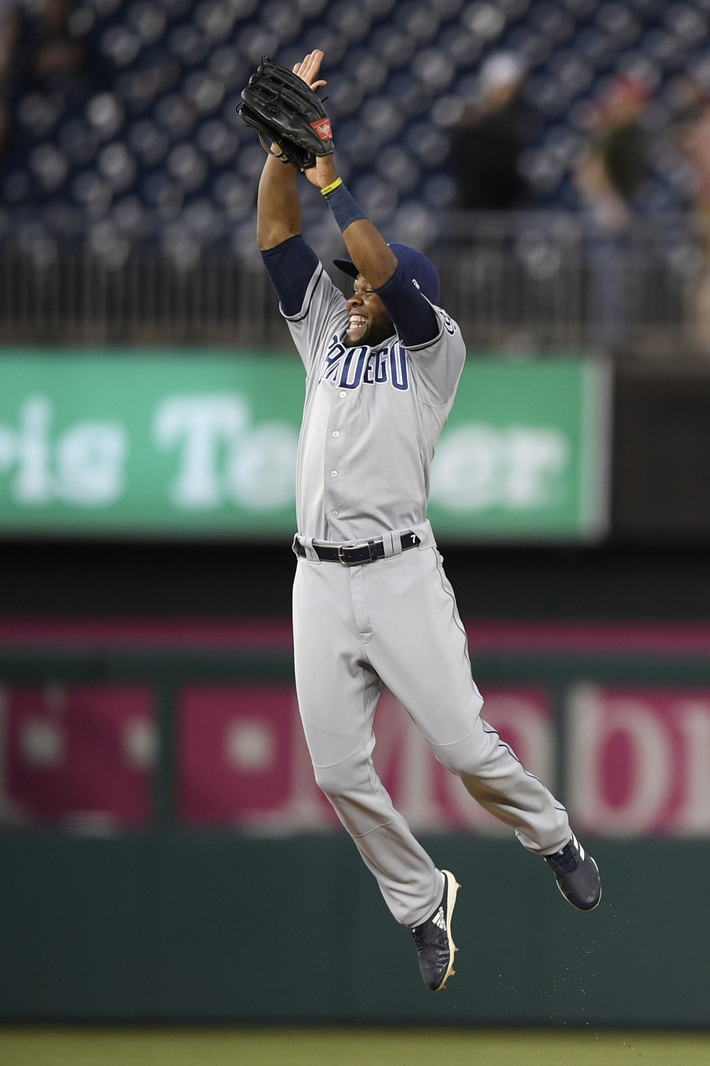 San Diego Padres' Manuel Margot celebrates after a baseball game against the Washington Nationals, Saturday, April 27, 2019, in Washington. (AP Photo/