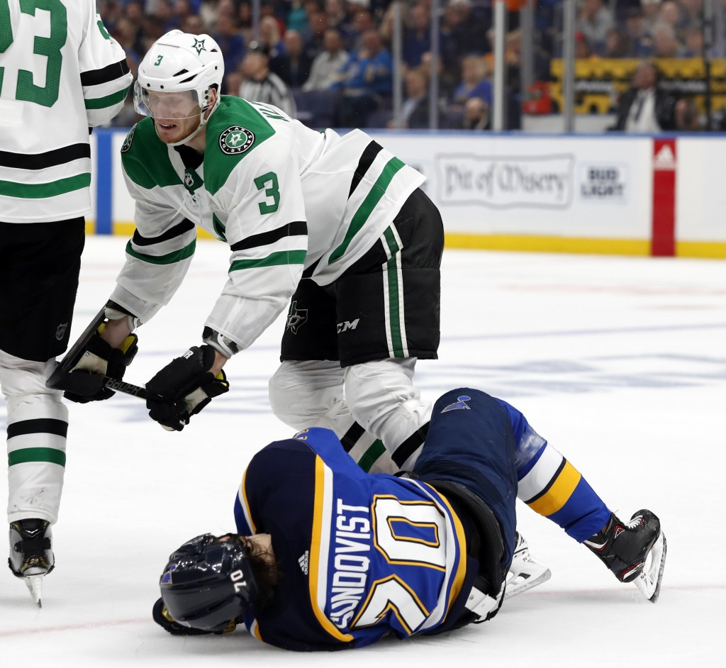 Dallas Stars' John Klingberg (3), of Sweden, knocks down St. Louis Blues' Oskar Sundqvist (70), also of Sweden, during the second period in Game 2 of ...