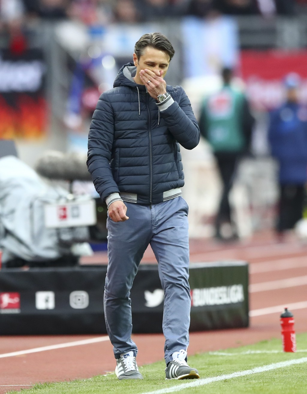 FILE -- In this Sunday, April 28, 2019 photo Bayern coach Niko Kovac walks beside the pitch during the German Bundesliga soccer match between 1. FC Nu