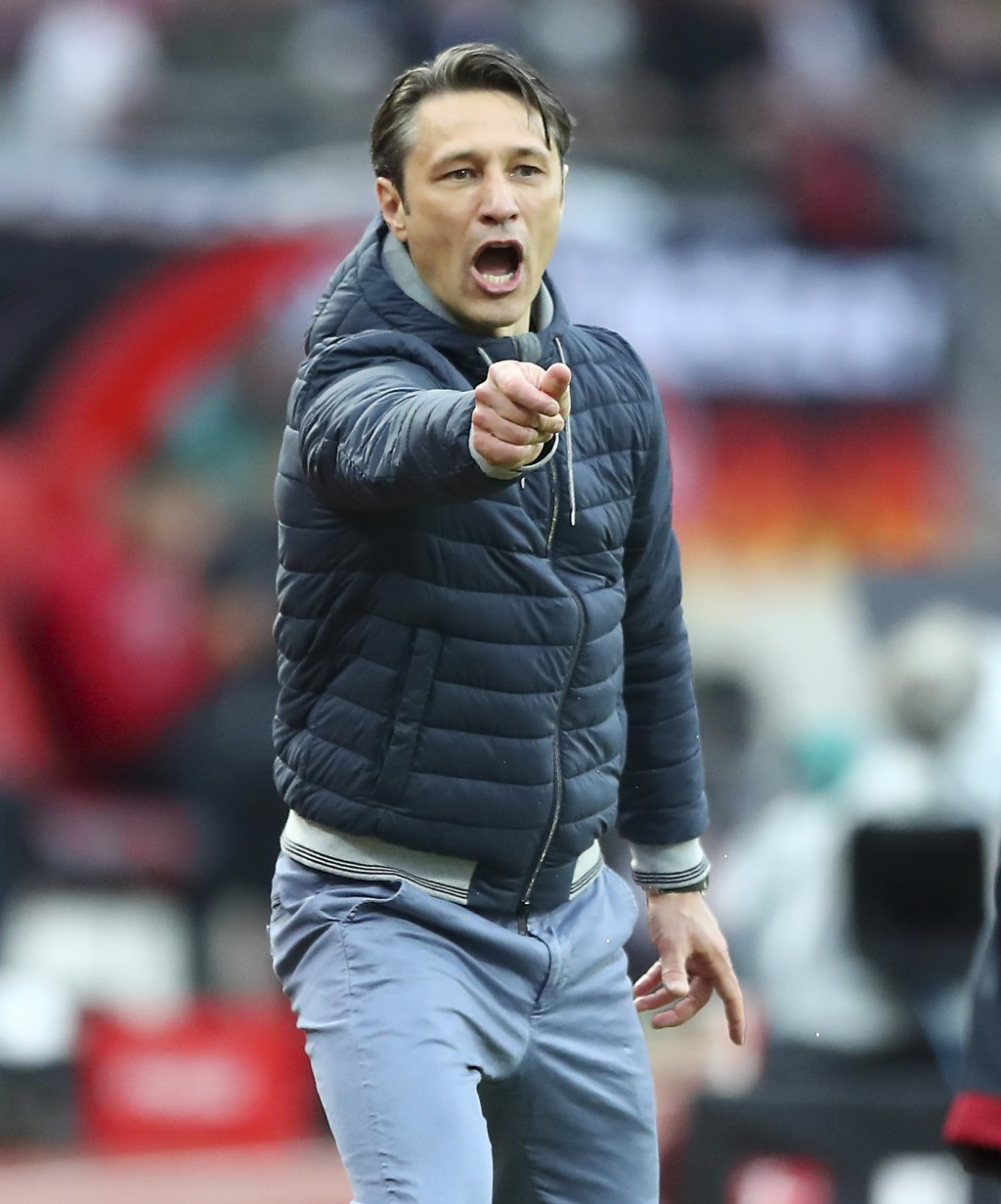 FILE -- In this Sunday, April 28, 2019 photo Bayern coach Niko Kovac gives instructions during the German Bundesliga soccer match between 1. FC Nuremb