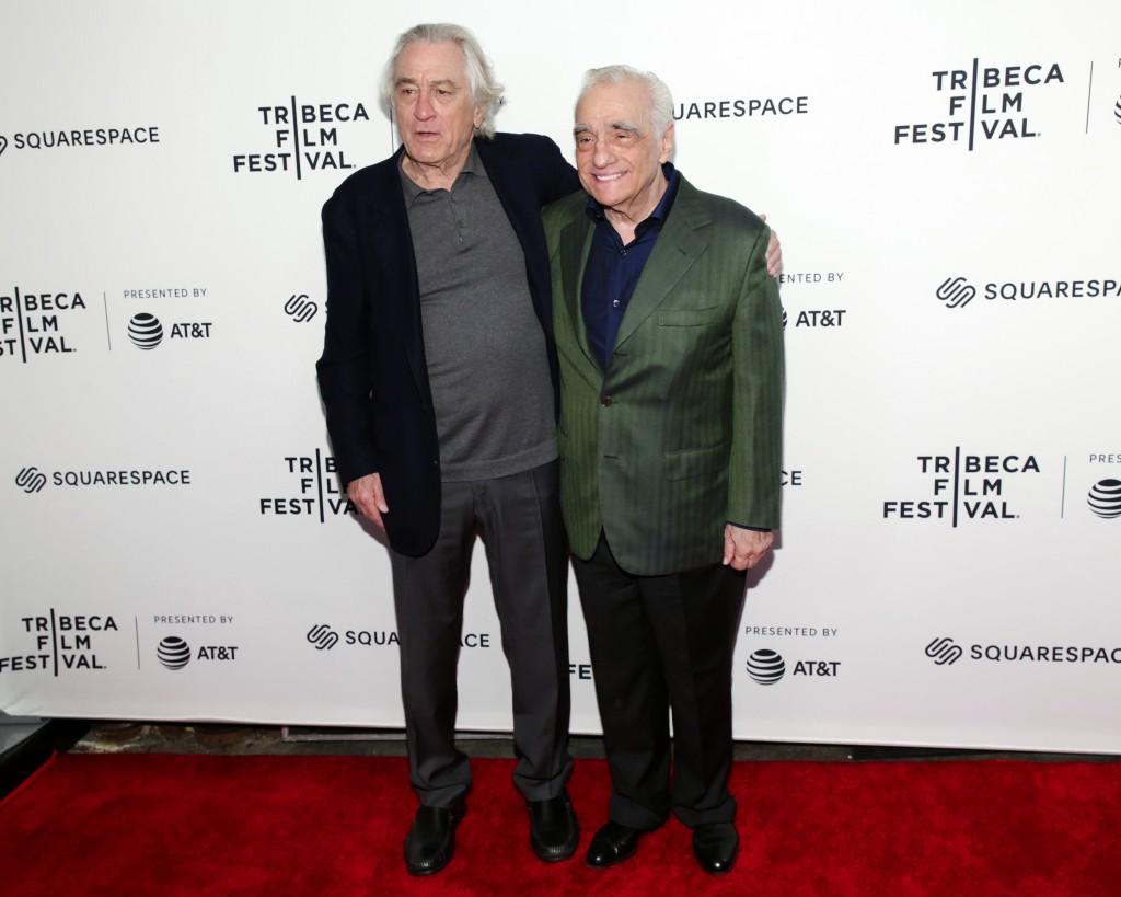 "Actor Robert De Niro, left, and director Martin Scorsese attend ""Tribeca Talks - Director Series - Martin Scorsese with Robert De Niro"" during the 201"