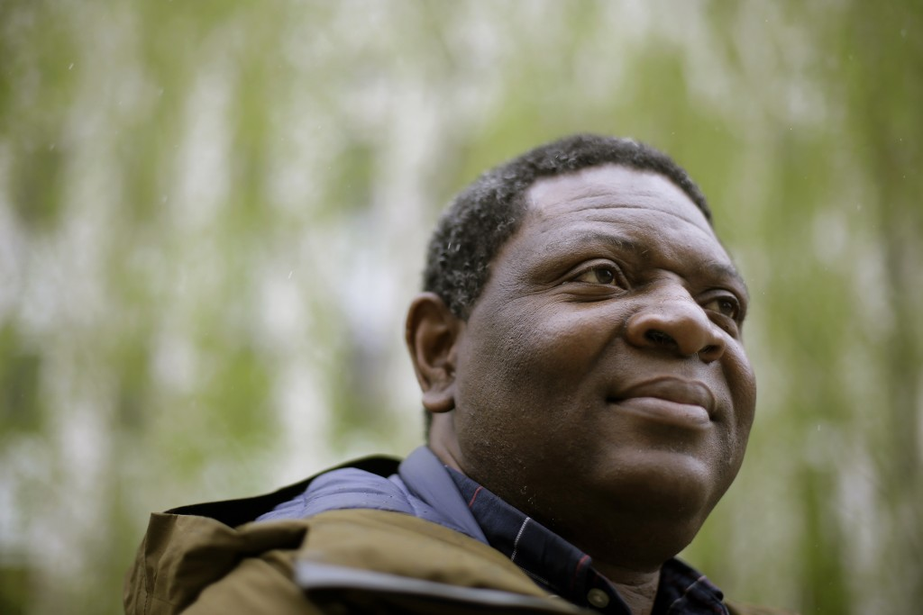 In this Monday, April 22, 2019 photo Goldman Environmental Prize winner Alfred Brownell, a Liberian environmental lawyer and human rights activist, st...