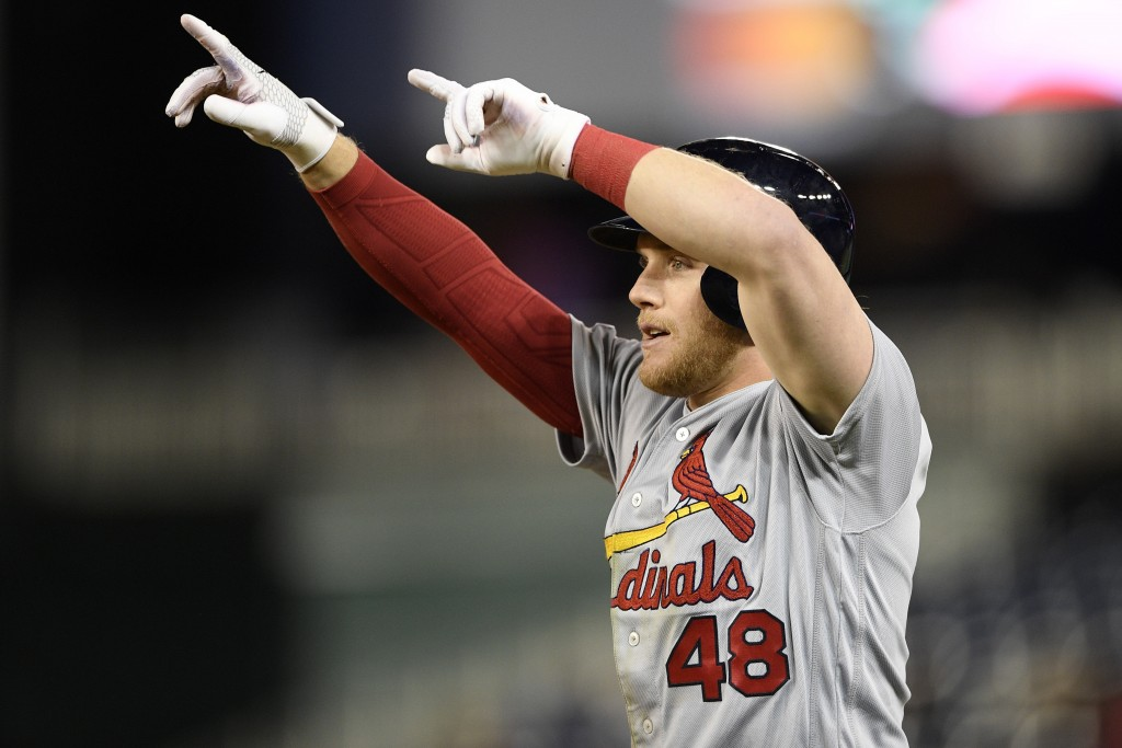 St. Louis Cardinals' Harrison Bader gestures after he hit a single during the eighth inning of a baseball game against the Washington Nationals, Monda...