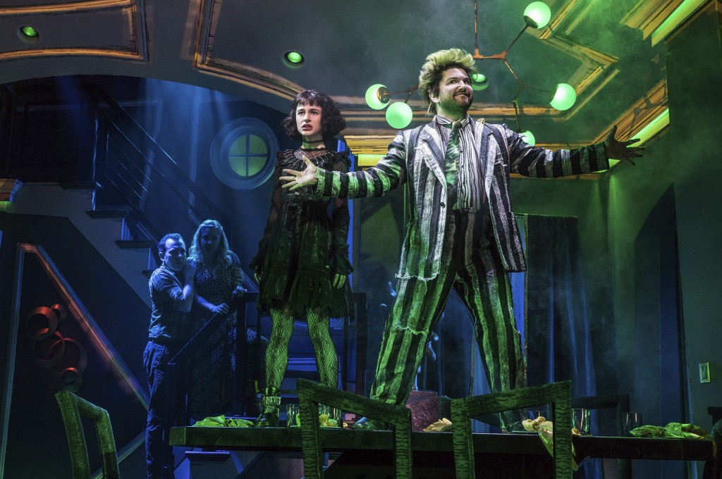 """This image released by Polk & Co. shows Rob McClure, from left, Kerry Butler, Sophia Anne Caruso and Alex Brightman during a performance of """"Beetlejui..."""