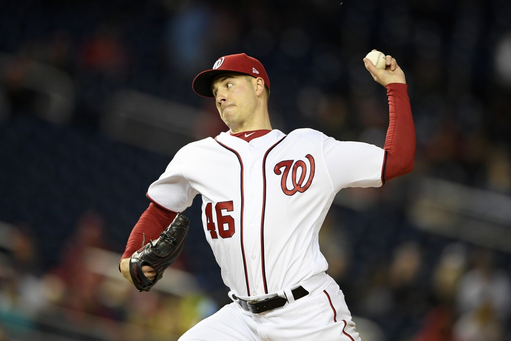 Washington Nationals starting pitcher Patrick Corbin delivers during the third inning of a baseball game against the St. Louis Cardinals, Monday, Apri