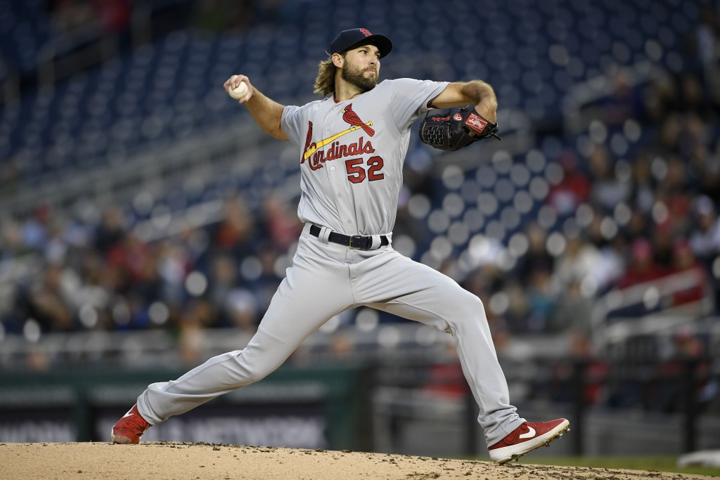 St. Louis Cardinals starting pitcher Michael Wacha delivers during the second inning of a baseball game against the Washington Nationals, Monday, Apri