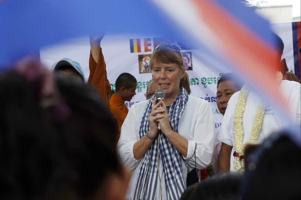 U.N. Special Rapporteur on Human Rights in Cambodia, Rhona Smith delivers a speech to mark May Day at Tonle Sap river bank in Phnom Penh, Cambodia, We...