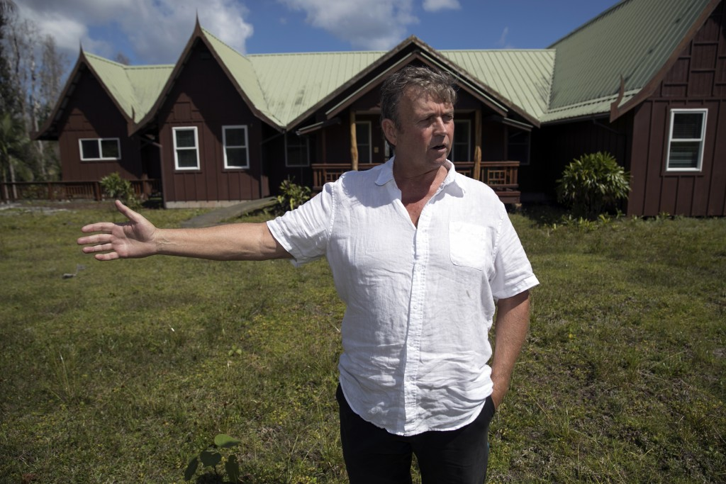 ADVANCE FOR RELEASE FRIDAY, MAY 3, 2019 AT 12:01 A.M. EDT AND THEREAFTER. In this Tuesday, April 23, 2019 photo, Leilani Estates resident Mark Figley ...