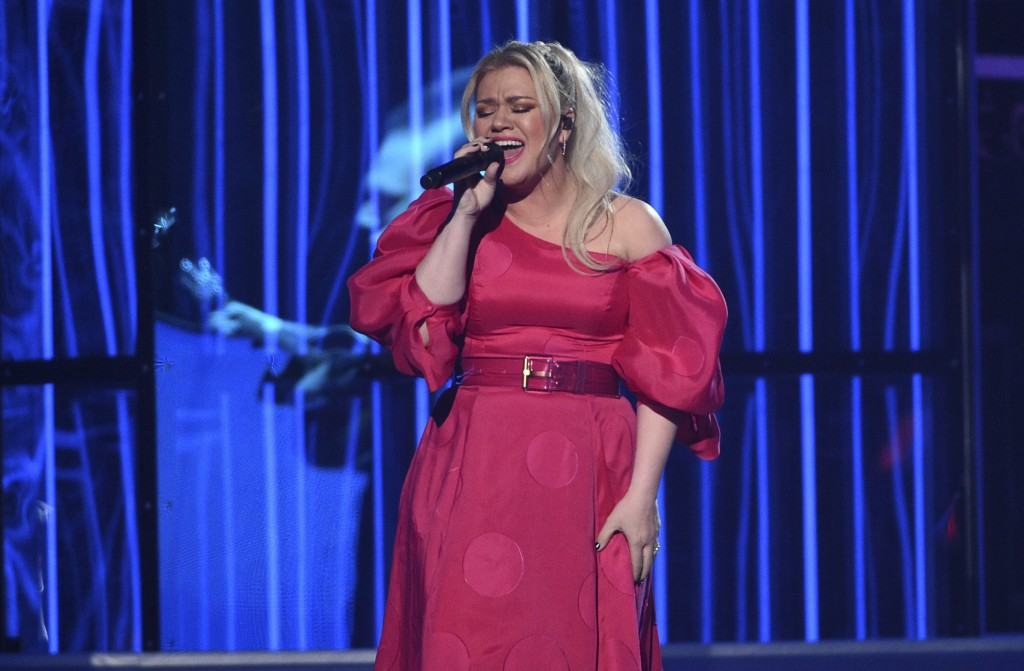 """Kelly Clarkson performs """"Broken & Beautiful"""" at the Billboard Music Awards on Wednesday, May 1, 2019, at the MGM Grand Garden Arena in Las Vegas. (Pho..."""