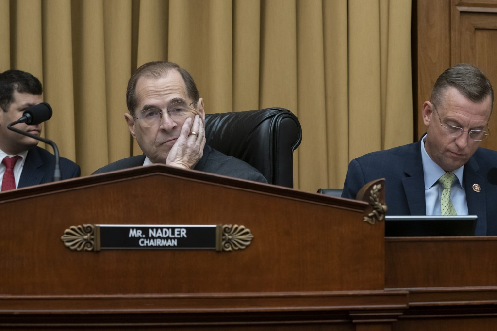 House Judiciary Committee Chair Jerrold Nadler, D-N.Y., joined at right by Rep. Doug Collins, R-Georgia, the ranking member, waits to start a hearing ...