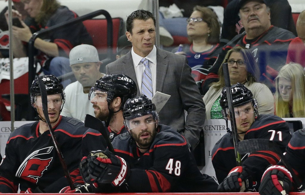 Carolina Hurricanes coach Rod Brind'Amour grimaces during the first period of Game 3 of an NHL hockey second-round playoff series against the New York...