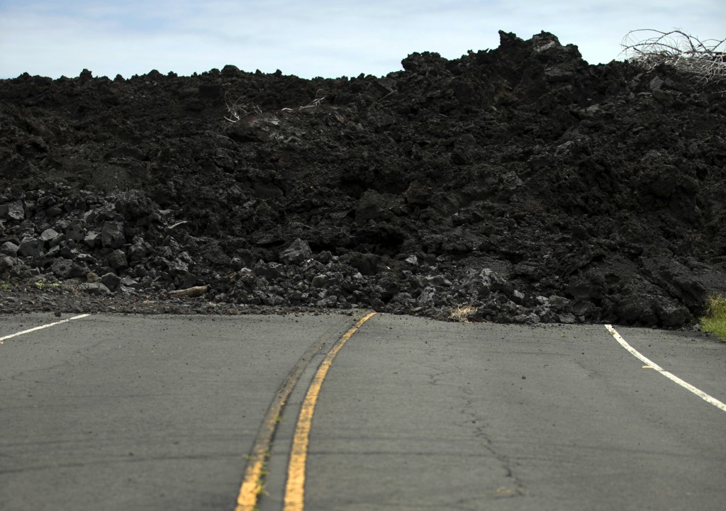 ADVANCE FOR RELEASE FRIDAY, MAY 3, 2019 AT 12:01 A.M. EDT AND THEREAFTER.  In this Tuesday, April 23, 2019 photo, lava from the 2018 Kilauea eruption ...