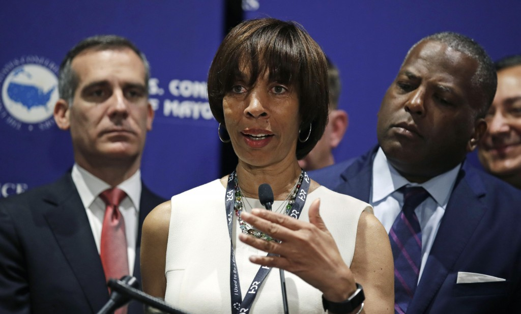 FILE - In this June 8, 2018 file photo, Baltimore Mayor Catherine Pugh addresses a gathering during the annual meeting of the U.S. Conference of Mayor...