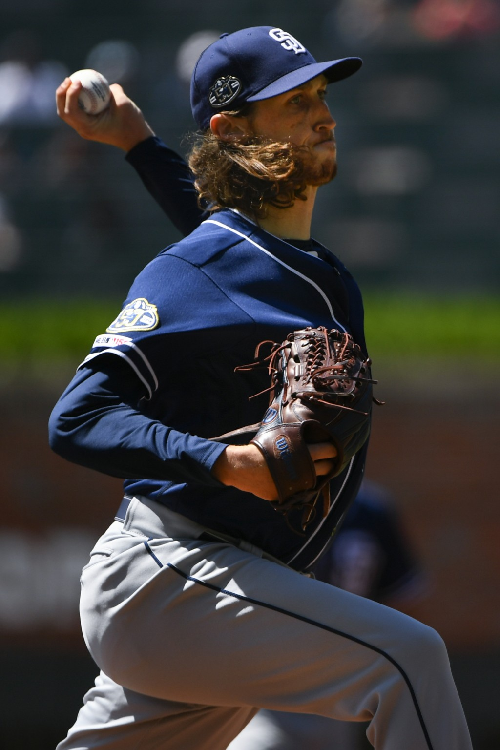 San Diego Padres' Matt Strahm pitches against the Atlanta Braves during the first inning of a baseball game Thursday, May 2, 2019 in Atlanta. (AP Phot
