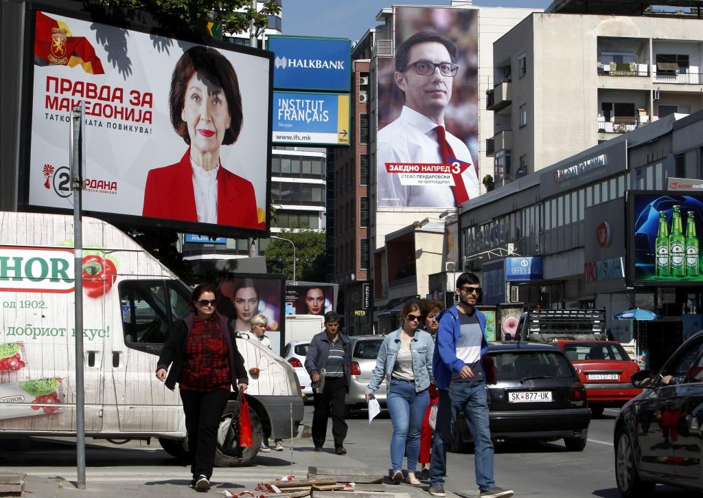 Campaign posters of Gordana Siljanovska Davkova, l...