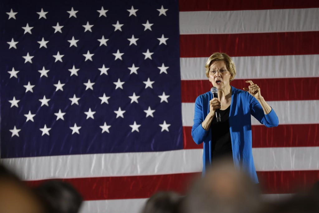 2020 Democratic presidential candidate Sen. Elizabeth Warren speaks to local residents during an organizing event, Friday, May 3, 2019, in Ames, Iowa.