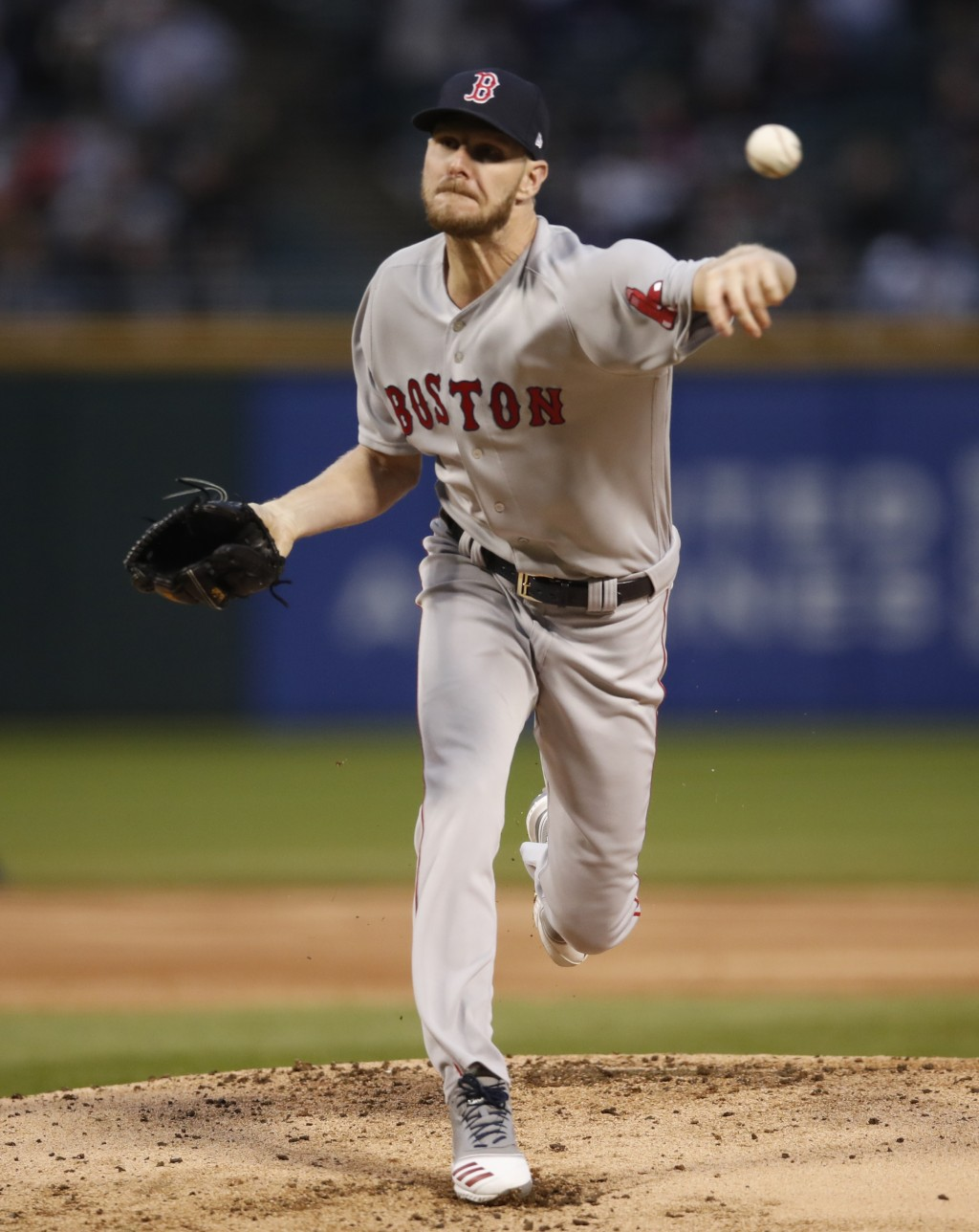 Boston Red Sox starting pitcher Chris Sale delivers during the first inning of a baseball game against the Chicago White in Chicago, on Friday, May 3,...