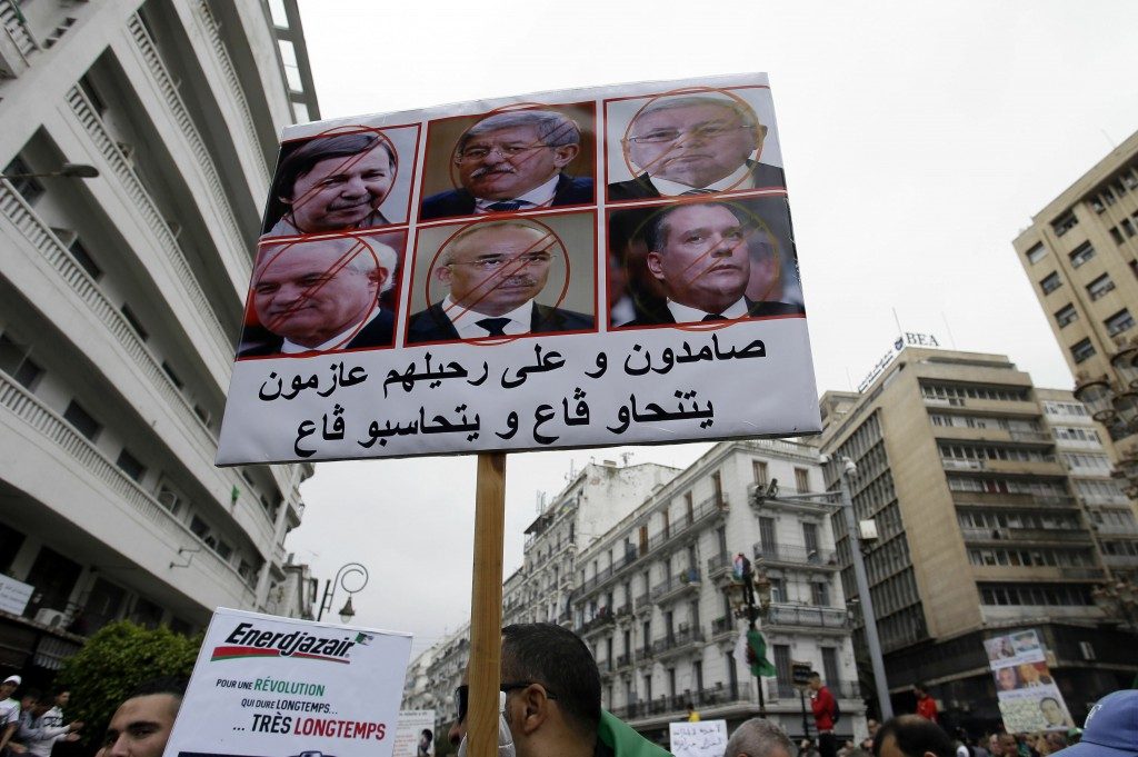 Algerian protesters take part in an anti-government demonstration in the capital Algiers, Algeria, May 3, 2019. Tens of thousands of Algerians protest...