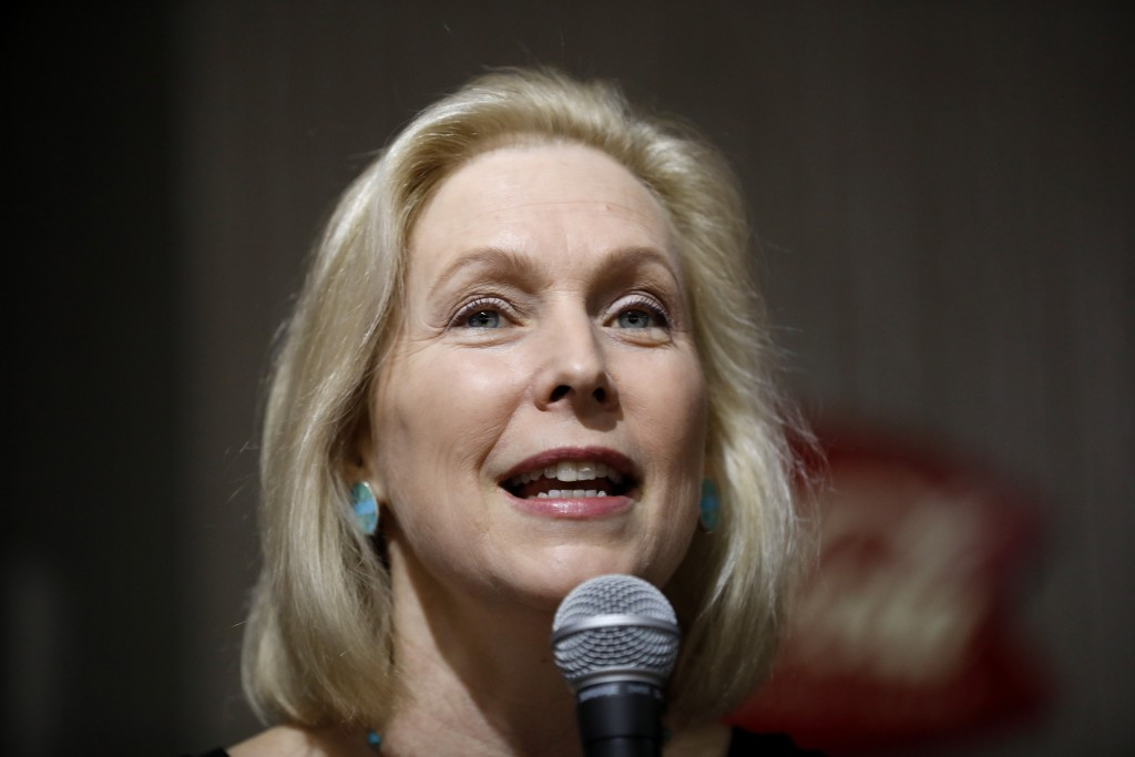 FILE - In this April 18, 2019, file photo, Democratic presidential candidate Sen. Kirsten Gillibrand speaks during a meet and greet with local residen