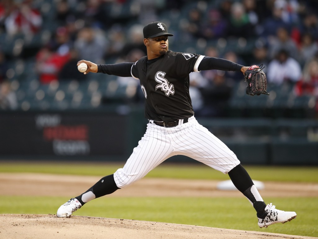 Chicago White Sox starting pitcher Reynaldo Lopez delivers during the first inning of a baseball game against the Boston Red Sox in Chicago, Friday, M...