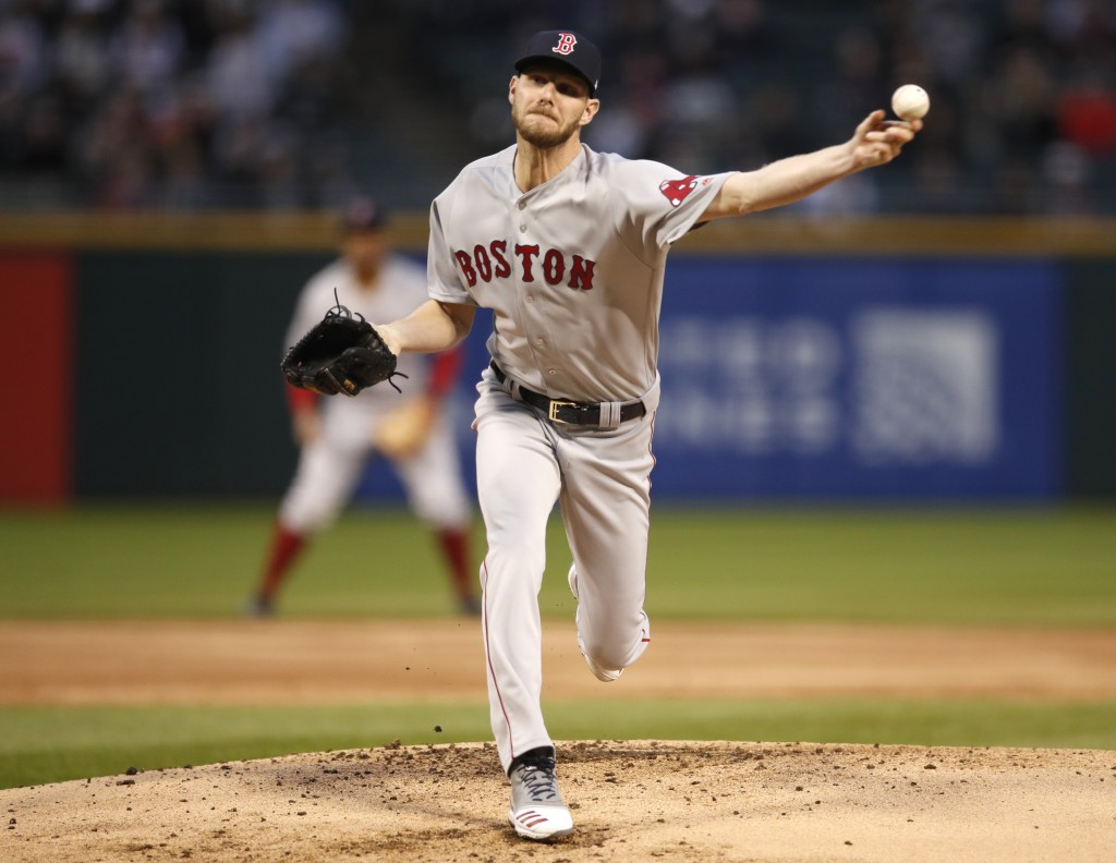Boston Red Sox starting pitcher Chris Sale delivers during the first inning of a baseball game against the Chicago White in Chicago on Friday, May 3, ...