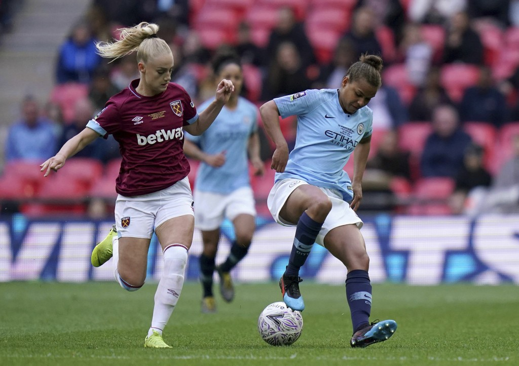 West Ham's Alisha Lehmann, left, and Manchester City's Nikita Parris battle for the ball during the Women's FA Cup Final at Wembley Stadium, London, S