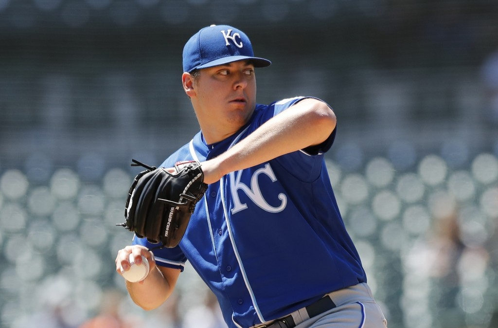 Kansas City Royals starting pitcher Brad Keller throws during the first inning of a baseball game against the Detroit Tigers, Sunday, May 5, 2019, in