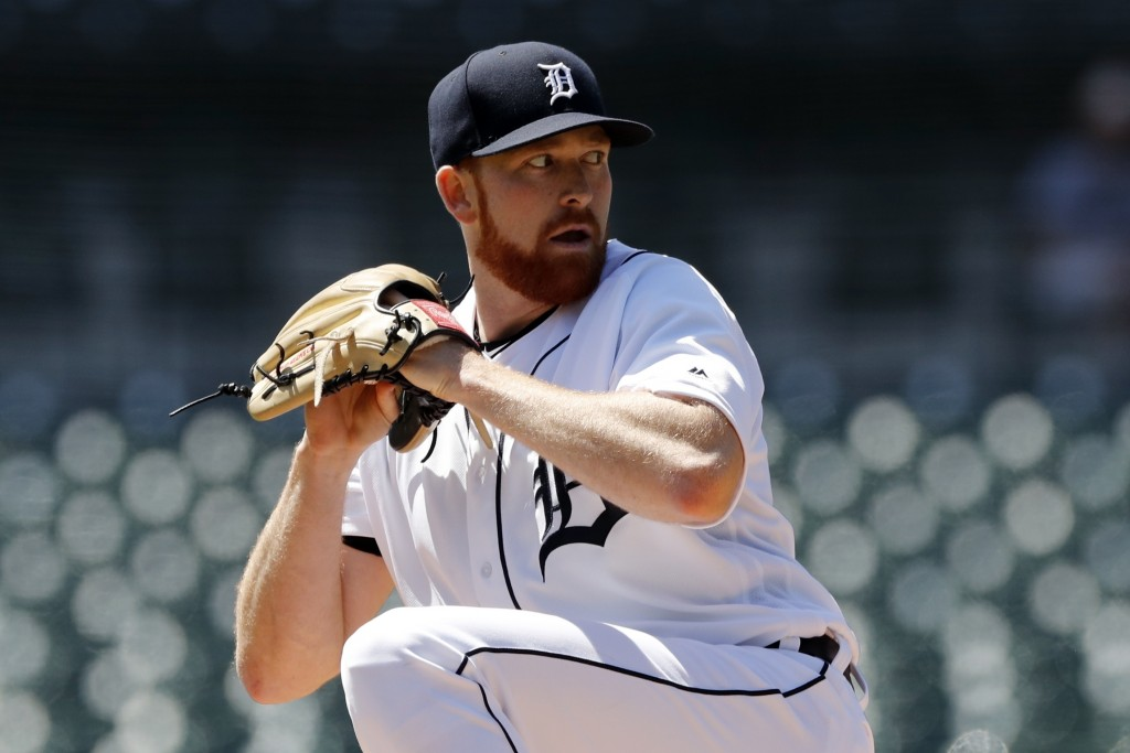 Detroit Tigers starting pitcher Spencer Turnbull throws during the first inning of a baseball game against the Kansas City Royals, Sunday, May 5, 2019...